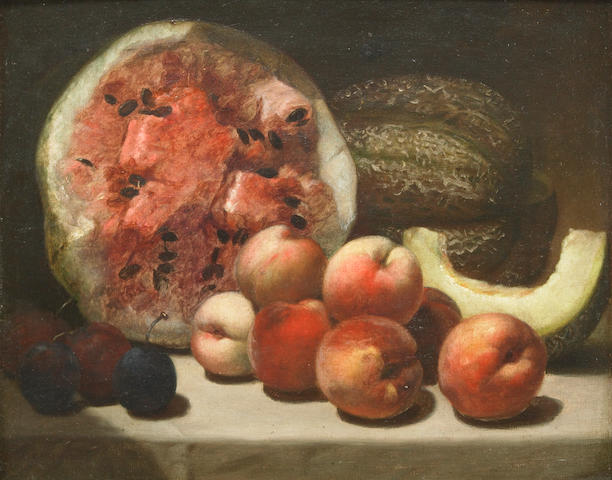 Alvan T. Fisher (1792-1863) A Still Life with Watermelon and Peaches 12 x 15in