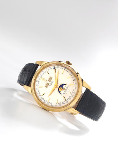 Rolex. A rare 18k gold self-winding triple calendar wristwatch with phases of the moonRef.8171, Movement No.20691, Case No.179, circa 1950