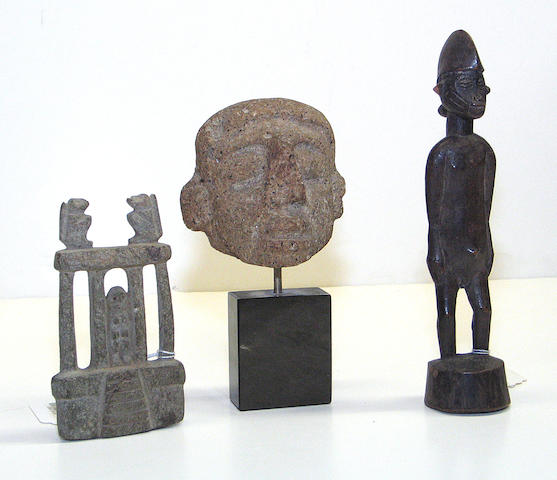 Three ethnographic items: stone head, stone temple, Senufo figure