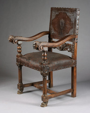 A French Renaissance Revival carved walnut armchair