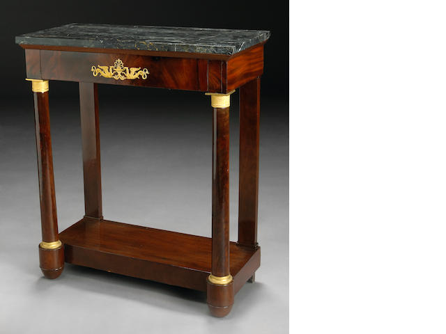 An Empire table with one drawer and marble top