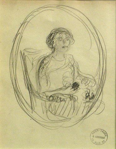 Henri Lebasque, Portrait of a woman drawing