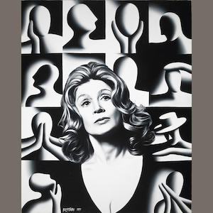 Mark Kostabi Entourage oil on canvas 1991 acrylic on canvas
