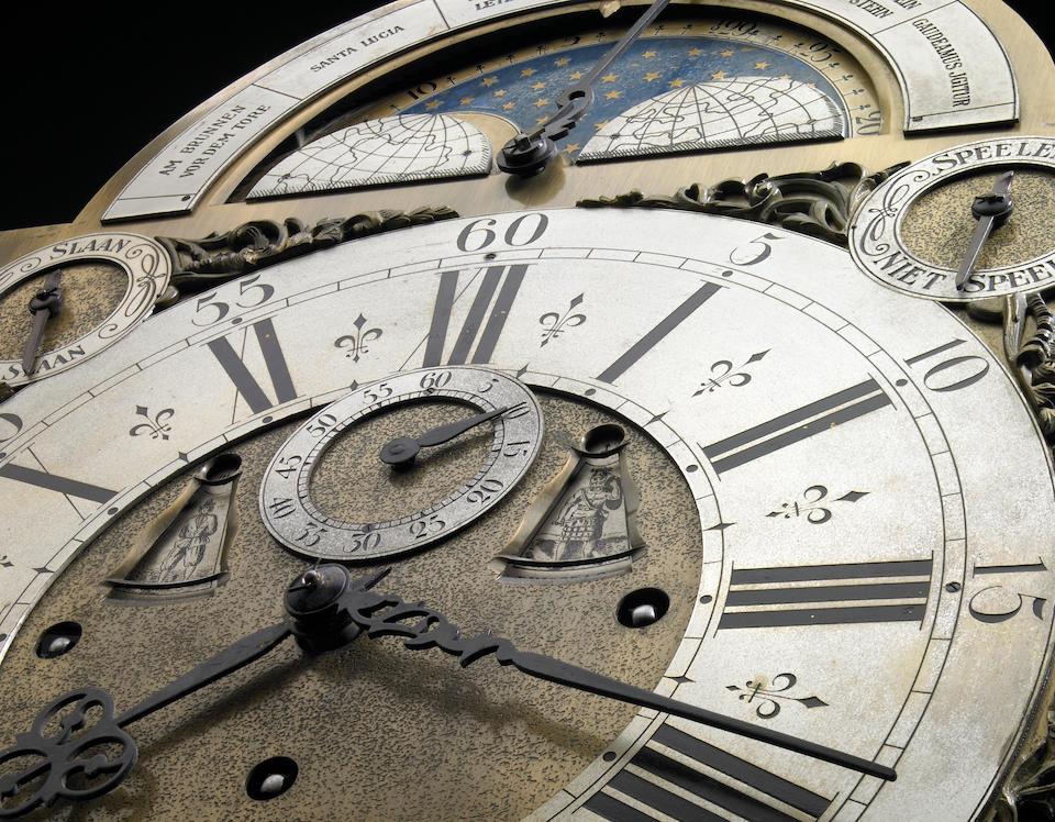 A Dutch Baroque style marquetry inlaid walnut musical tall case clock
