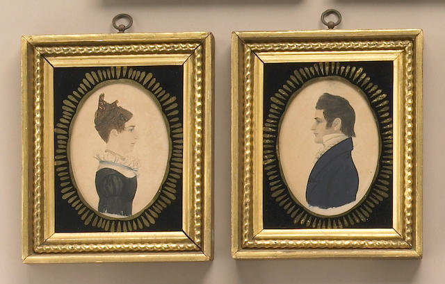 A fine pair of watercolor on paper miniature portraits of a young man and woman