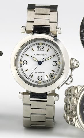 Cartier. A stainless steel self-winding calendar bracelet watchPasha, 1990s