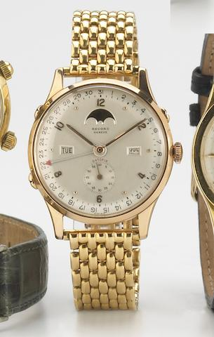 Record. A fine 18k rose gold bracelet watch with triple calendar and moon-phase indicatorDatofix, Ref.1121, 1950s