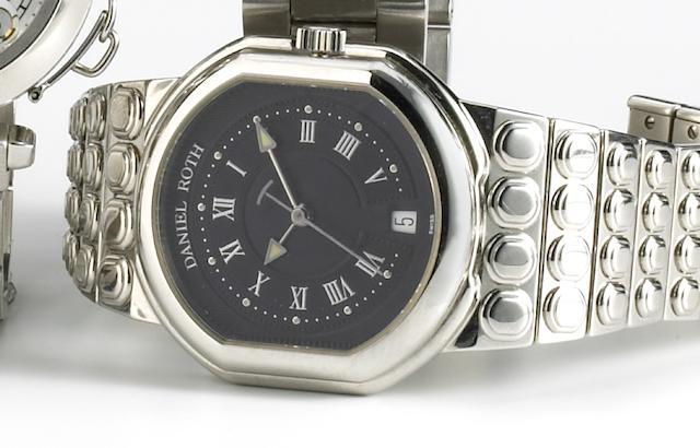 Daniel Roth. A stainless steel self-winding calendar bracelet watchLe Sentier, late 1990s