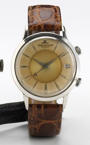 Jaeger LeCoultre. A stainless steel self-winding calendar wristwatch with alarmMemovox, No.900738, 1950s
