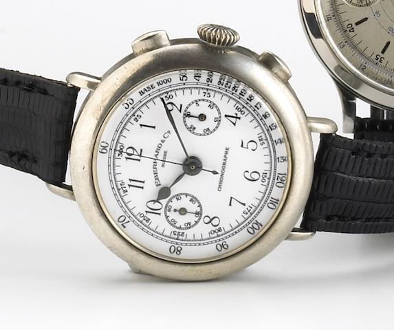 Eberhard & Co. La Chaux de Fonds. An unusual silver chronograph wristwatch with enamel dialChronographe, E/234, 1990s