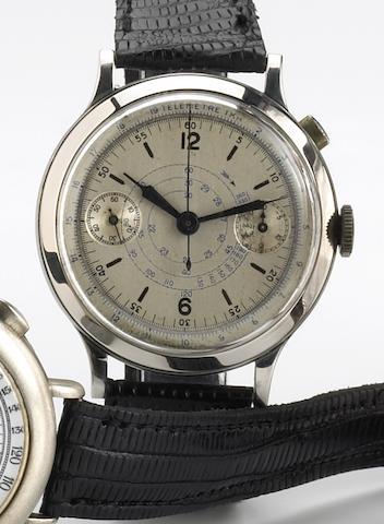 Swiss. An oversize staybrite steel single-button chronograph wristwatchNo.278043, 1930s