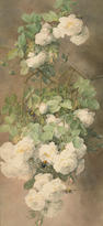 Paul de Longpre (1855-1911) White Roses and Bumblebees 27 x 13in