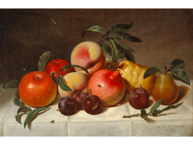 Peter Baumgras (1827-1903) Still Life with Plums, Pears, Pomegranates, and Apples, 1872 12 1/2 x 18in
