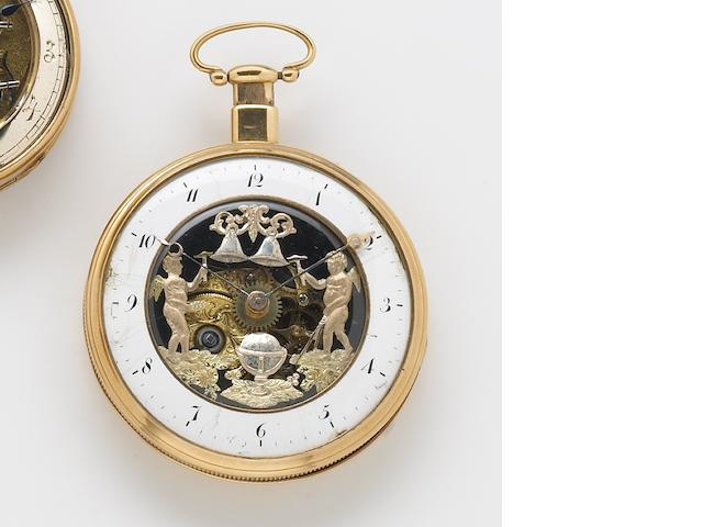 Swiss. An early 19th century 18k gold open face semi-skeletonized quarter repeating key-wind pocket watch with Jaquemarts automation