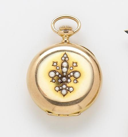 Patek Philippe & Cie. An 18k gold and pearl set hunting cased fob watch No.62113, Case No.212705, circa 1880