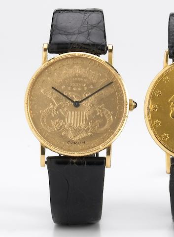 Corum. An unusual 18k gold twenty-dollar coin wristwatchMovement No.66172, Case No.19870, circa 1968