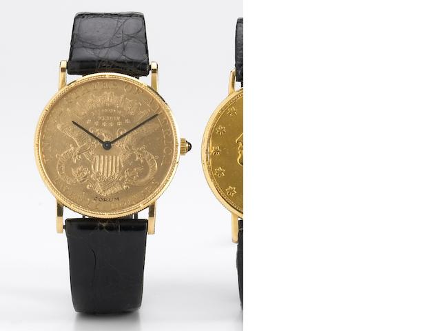 Corum. An unusual 18k gold twenty-dollar coin watch Movement No.66172, Case No.19870, circa 1968