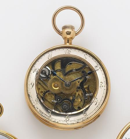 An early-mid 19th century 18k gold open face key-wind quarter repeating pocket watch  Berthoud, Paris