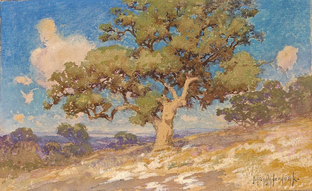 Julian Onderdonk (1882-1922)  High Desert Oaks 7 3/4 x 10 1/2in