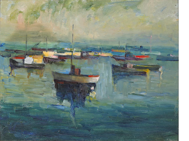 August Gay (1890-1948) Untitled (Boats in Bay) 12 x 15in