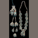 A matched set of Zuni jewelry, Oliver & Angela Cellicion: necklace, bolo tie, ring, earrings