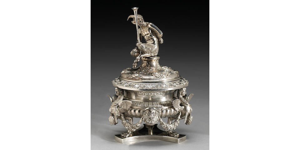 Italian Silver Figural Inkwell with Cover After the Antique