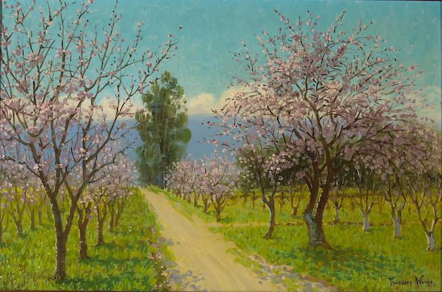 Theodore Wores (1859-1939)  Almond Blossoms, Los Altos, 1925 16 x 24 1/4in