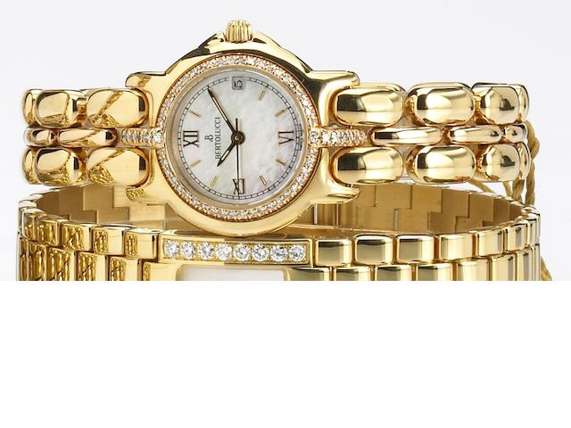 Bertolucci. A fine lady's 18k gold and diamond set quartz bracelet watch with mother-of-pearl dial Pulcha, recent