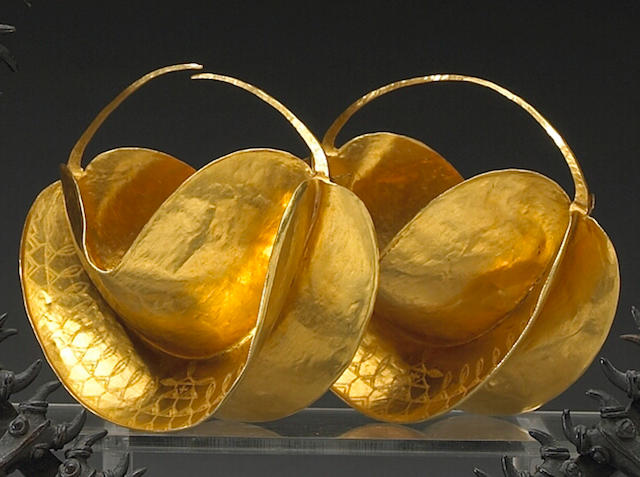 A pair of Fulani gold earrings