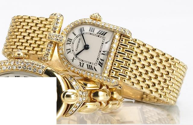 Cartier. An unusual lady's 18k gold and diamond set quartz bracelet watchCalandre, 1980s