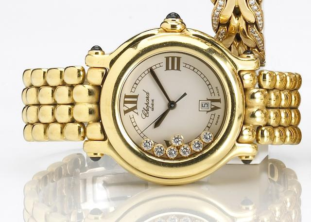 Chopard. An 18k gold quartz calendar bracelet watch with 'floating' diamonds Happy Sport, Ref.4144, 1990s