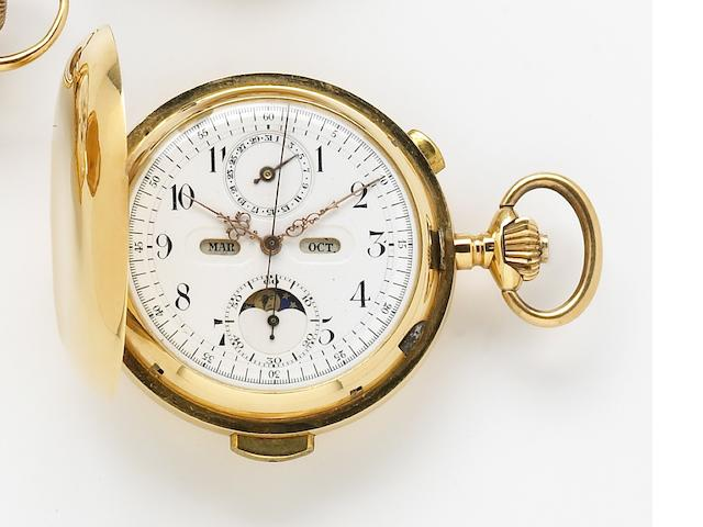 Swiss for the French market. An 18k gold hunting cased quarter repeating chronograph pocket watch with triple calendar and phases of the moon  Circa 1900
