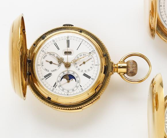 Swiss. An 18k gold hunting cased minute repeating triple calendar chronograph pocket watch with phases of the moon No.3407, circa 1910