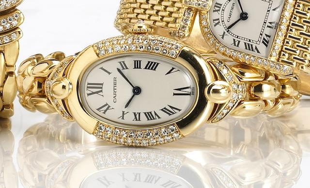 Cartier. A fine 18k gold and diamond set quartz bracelet watch Bagnoir, Ref.0681, circa 2000