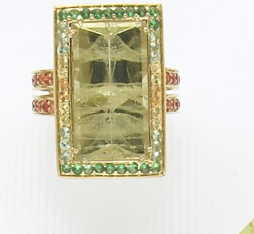Green Beryl and Multi-gem Set Ring
