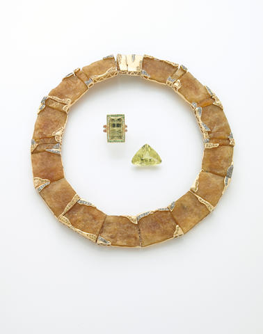Golden Beryl and Gem-set Reversible Choker Necklace