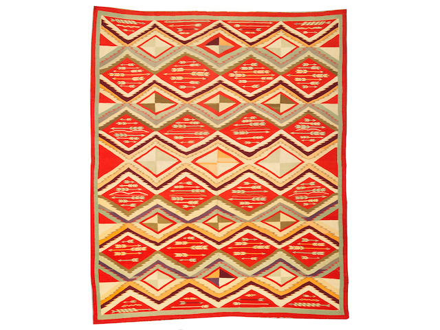 A Navajo Germantown pictorial rug, 6ft 11in x 5ft 9in