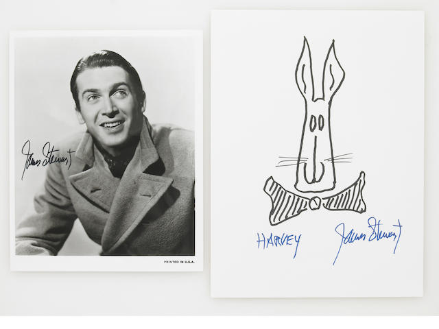 A James Stewart signed 'Harvey' drawing and photograph