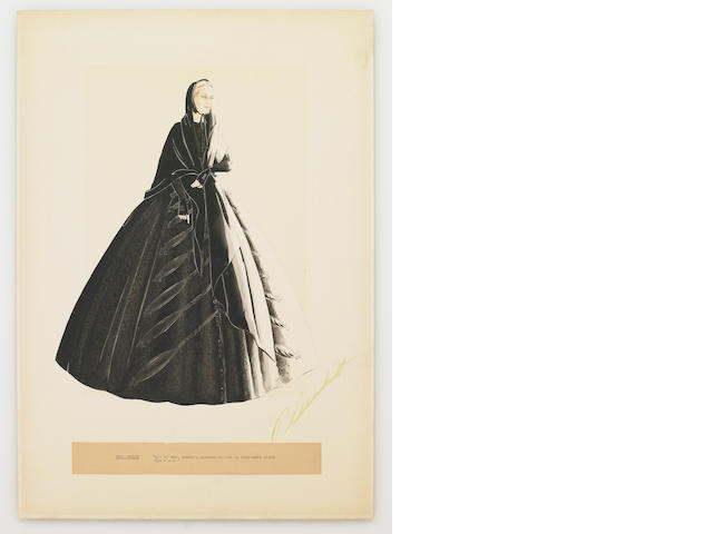 "A Walter Plunkett costume design sketch of 'Mrs. Meade' from ""Gone With The Wind"""
