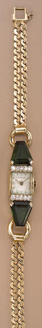 A retro gold and green tourmaline wristwatch, Tiffany & Co,