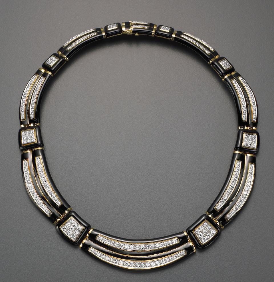 A black enamel, diamond, eighteen karat gold and platinum necklace, David Webb