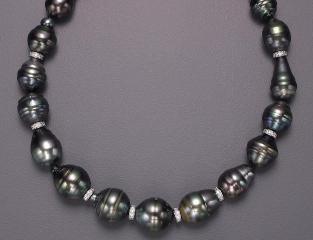 A South Sea cultured pearl, diamond and fourteen karat white gold necklace