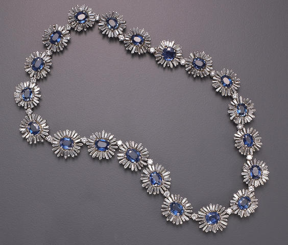 A sapphire, diamond and white gold necklace