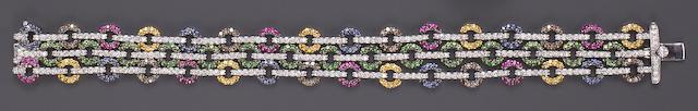 A diamond, gem-set and eighteen karat white gold bracelet