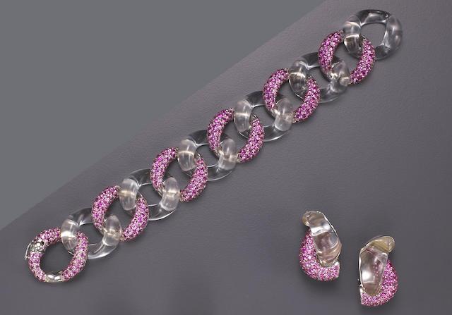 A pink sapphire, rock crystal and eighteen karat white gold bracelet and a pair of earrings, Seaman Schepps