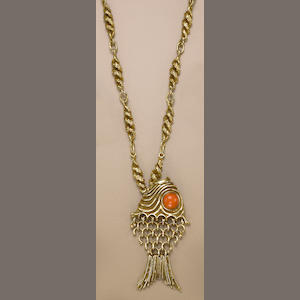 An eighteen karat gold and coral pendant necklace, Erwin Pearl,