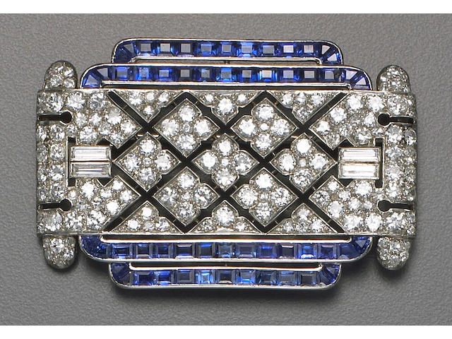 An art deco diamond, sapphire and platinum brooch, Lacloche Frères,