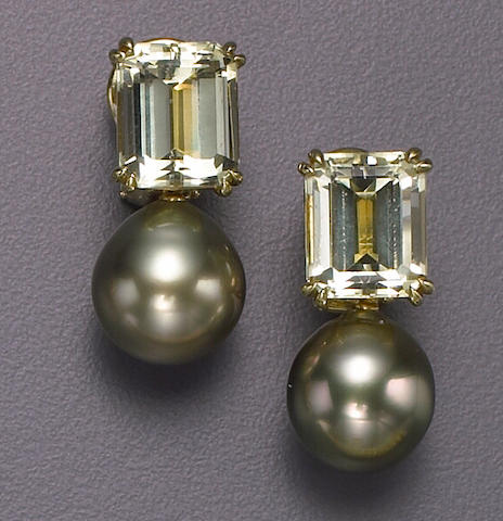 A pair of South Sea cultured pearl, yellow beryl and eighteen karat gold earrings, Donna Vock