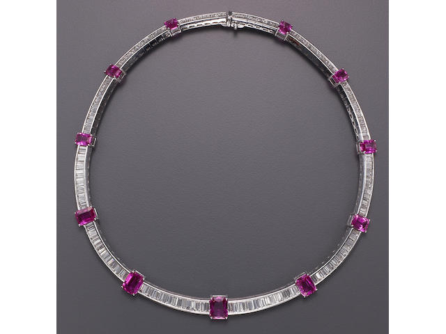 A pink sapphire, diamond and platinum necklace