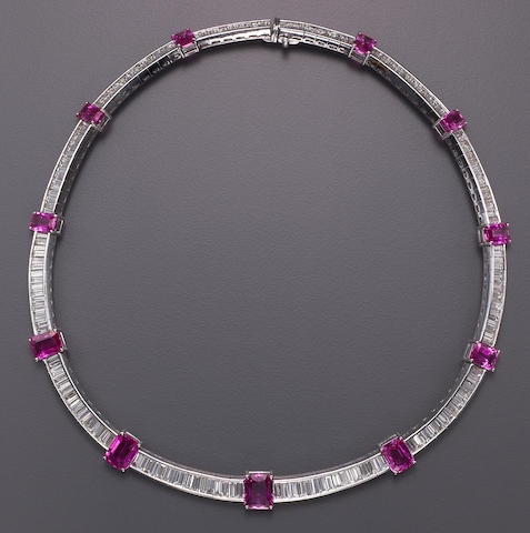 A pink sapphire, diamond and platinum necklace